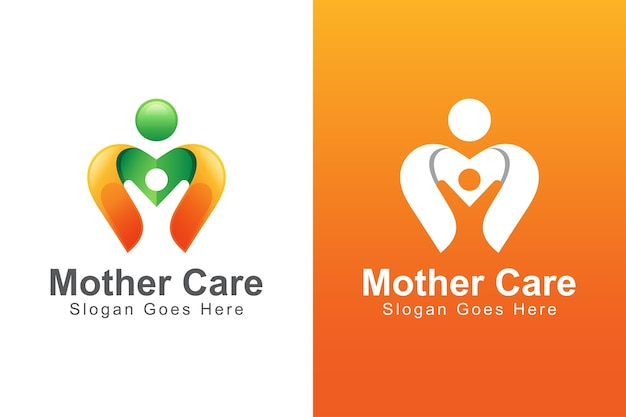 Modern color mother care with child logo. people care business logo
