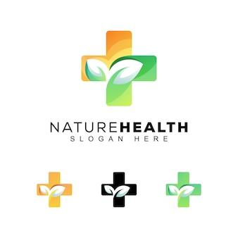 現代の色の自然健康ロゴ