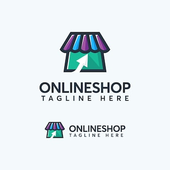 Modern color online shop logo design template