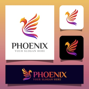 Modern color phoenix bird or eagle logo design