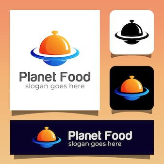 Modern color planet with food restaurant logo