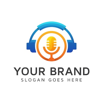 Modern color podcast logo, best music logo, headphone with mic element concept