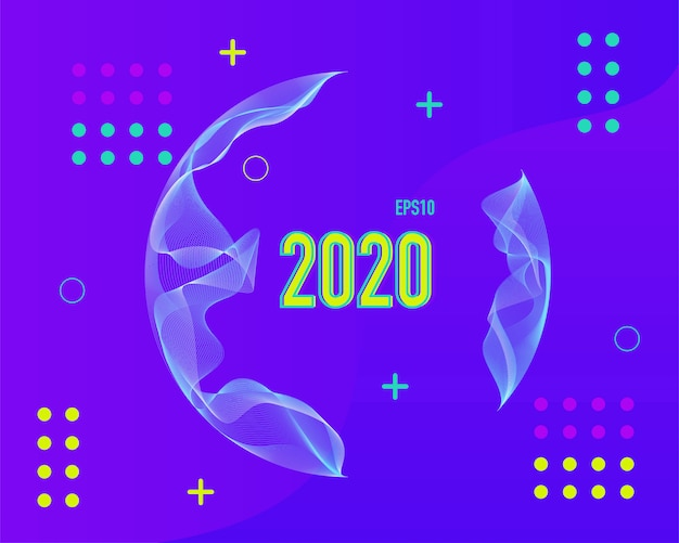 Modern colored 2020 line background .