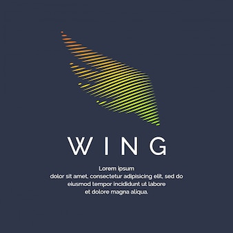 Modern colored wing in a futuristic style. vector illustration on a dark background for advertising