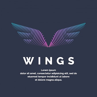 Modern colored wings in a futuristic style. vector illustration on a dark background for advertising