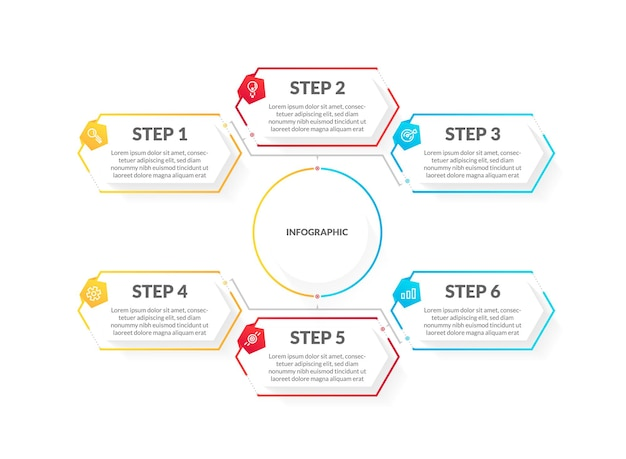 Modern colorful 6 step timeline infographic. perfect for presentation, process diagram, workflow, and banner