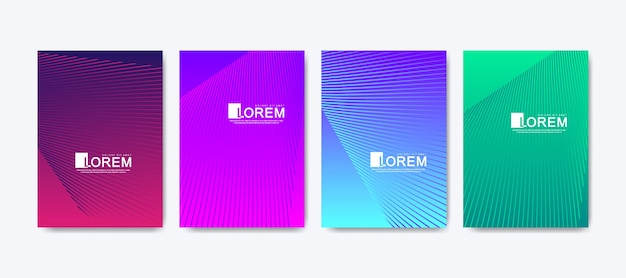현대 다채로운 추상 그라데이션 라인 패턴 배경 표지