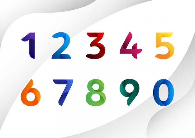 Modern colorful abstract numbers
