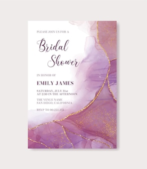 Modern colorful alcohol ink bridal shower invitation card