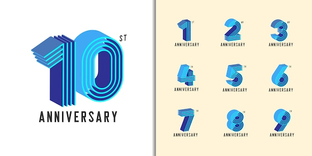 Modern colorful anniversary celebration set.