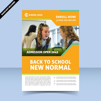 Modern colorful back to school new normal flyer template design