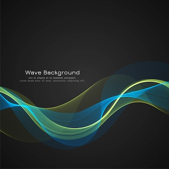 Modern colorful bright wave dark vector background