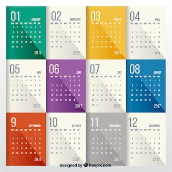 Современный красочный календарь 2017
