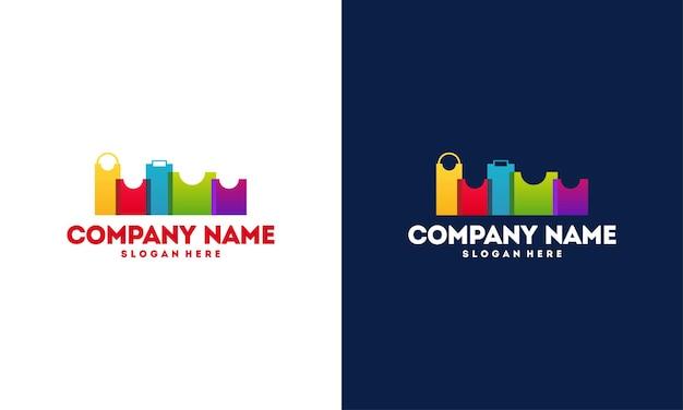 Modern and colorful city shop logo vector illustration, online shop logo
