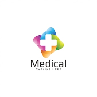 Modern colorful cross medical logo