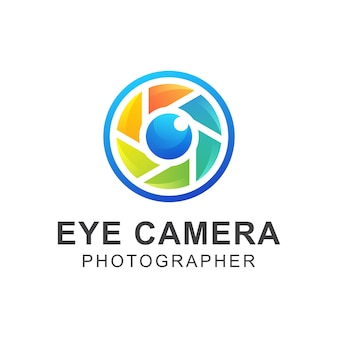 Modern colorful eye camera photographer logo design  template