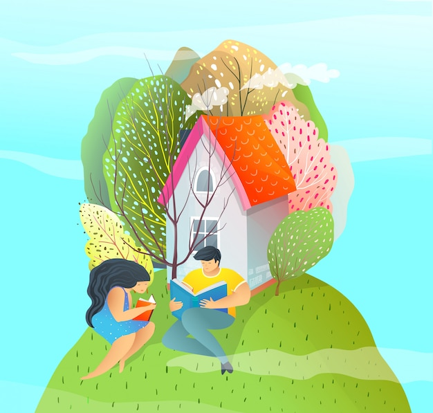 Modern colorful flat style illustration couple reading near the house on the green hill. summer dreaming.