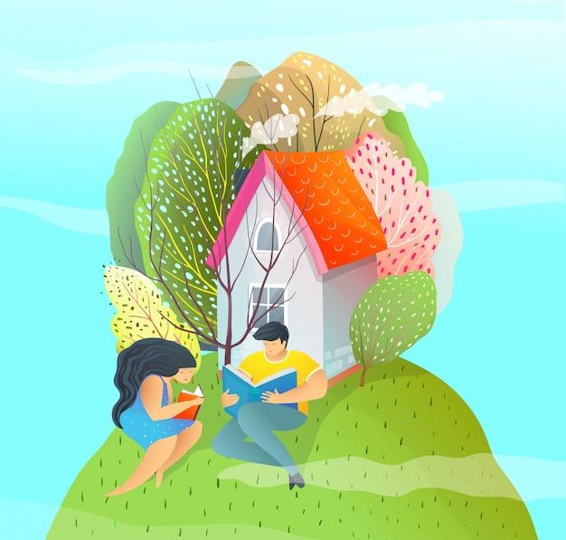 緑の丘の上の家の近くを読んでモダンなカラフルなフラットスタイルイラストカップル。夏の夢。
