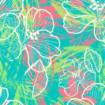 葉のプリント要素とモダンなカラフルな花のシームレスなパターン