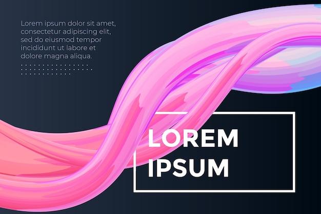 Modern colorful fluid flow poster template wave liquid shape on dark color background art design for