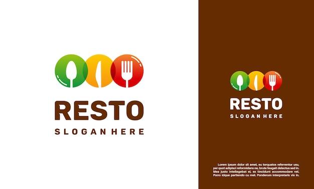 モダンなカラフルな食品のロゴデザインのコンセプト。レストランのロゴ