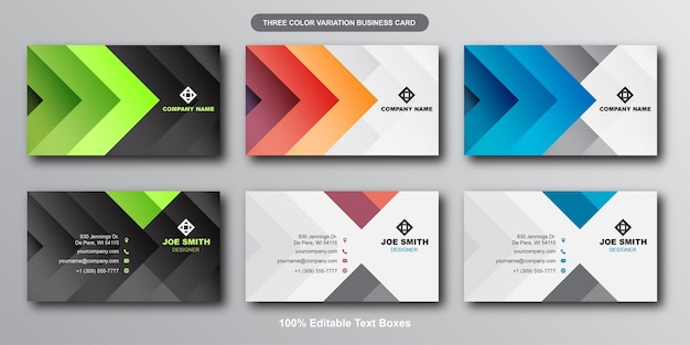 Modern colorful gradient business card set