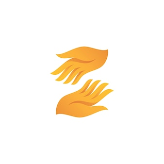 Modern colorful hand care icon for caring social charity logo design