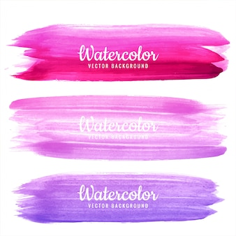 Modern colorful hand draw watercolor strokes set