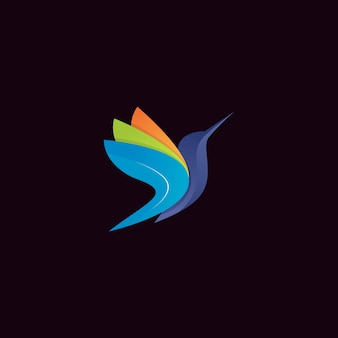 モダンなカラフルなハチドリのロゴ