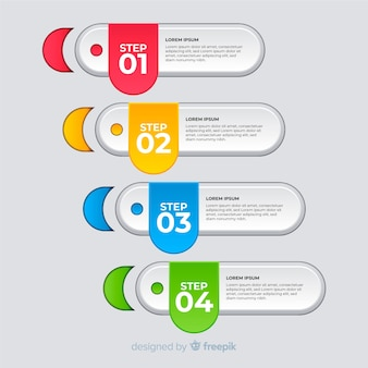 Modern colorful infographic steps template