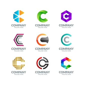 Modern colorful letter c logo collection