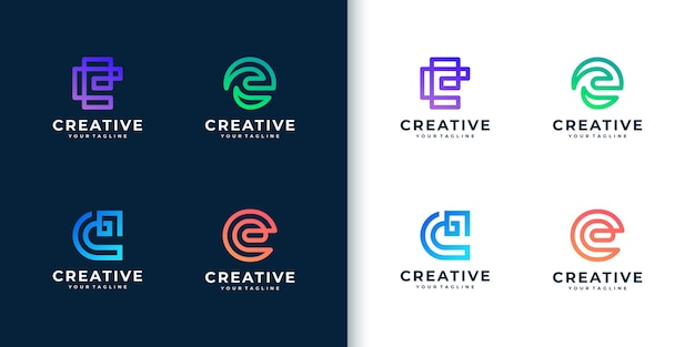 Modern colorful monogram letter e logo collection for company