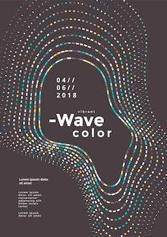 현대적인 다채로운 모자이크 웨이브 포스터입니다. 표지 디자인 벡터 템플릿입니다. 추상적인 색된 파도 배경입니다.