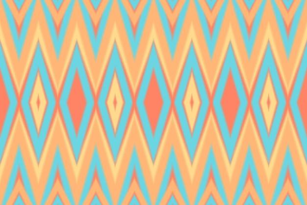 현대적인 다채로운 파스텔 오렌지 이캇은 매끄러운 전통적인 패턴입니다. 배경, 카펫, 벽지 배경, 의류, 포장, 바틱, 직물을 위한 민족 동양 디자인. 자수 스타일