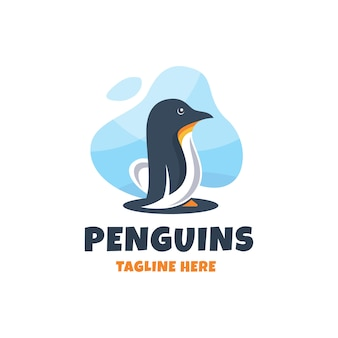Modern colorful penguins logo design template