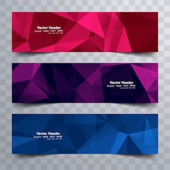 Современные красочные многоугольные баннеры