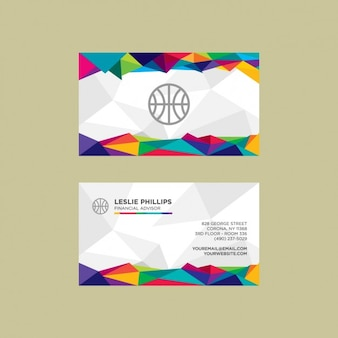 Modern and colorful polygonal visit card