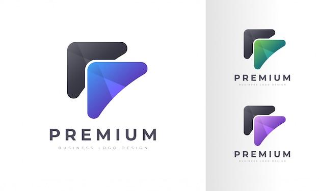 Modern colorful rocket arrow logo design template