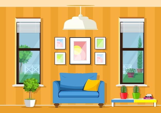 Современный красочный интерьер комнаты с креслом, столом, окнами, вазонами.