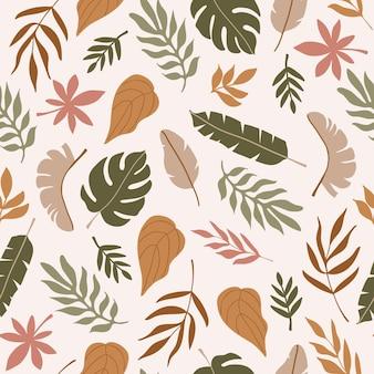 パステルカラーの背景にさまざまな抽象的な熱帯の葉のモダンでカラフルなシームレスパターン