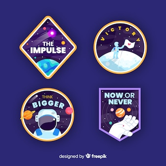 Modern colorful space stickers collection