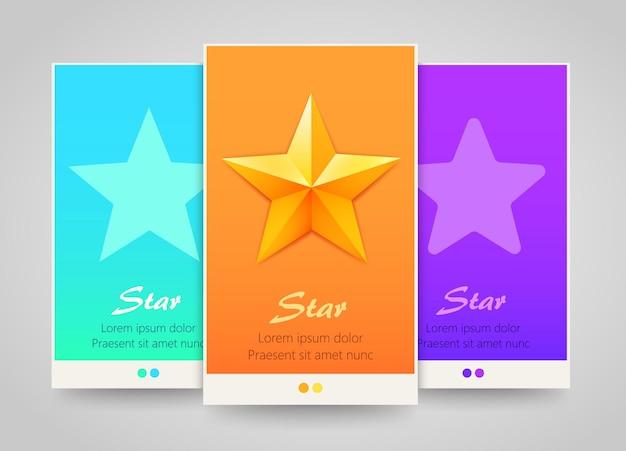 Современные красочные баннеры вертикальных звезд.