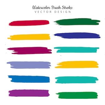 Modern colorful watercolor stroke set design