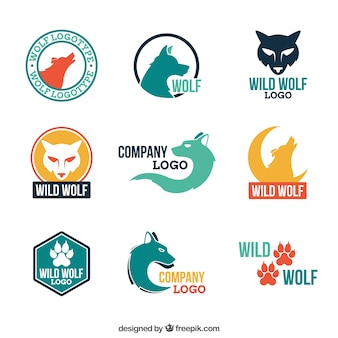 현대 화려한 늑대 로고 컬렉션