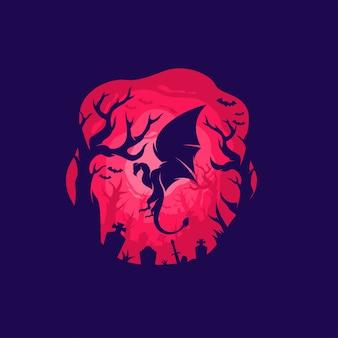 Современная иллюстрация дракона цветов