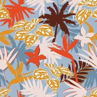 현대 다채로운 이국적인 정글 단풍 그림 실루엣 패턴