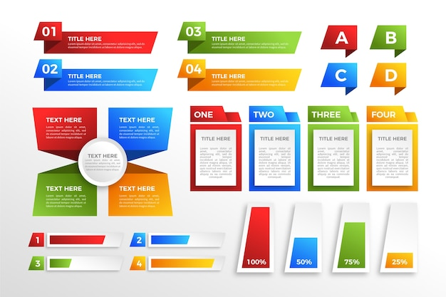 Modern colourful gradient infographic elements