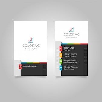 Modern colourful vertical business card