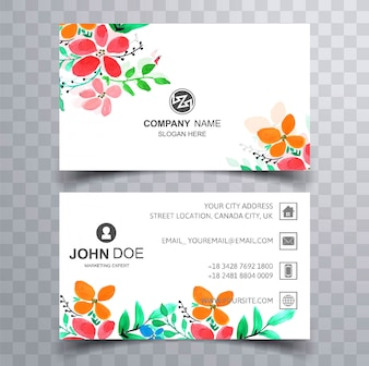Modern colroful floral business card set design