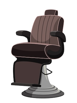 Modern comfortable barbershop equipped seat with chair isolated on white